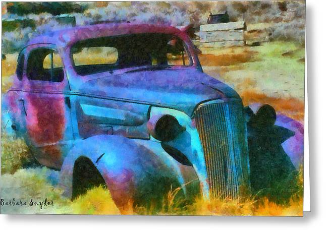 Wrecked Cars Greeting Cards - Bodie Ghost Town Wreck Greeting Card by Barbara Snyder