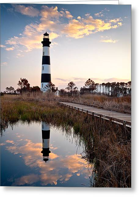 Nc Fine Art Greeting Cards - Bodie Island Lighthouse - Cape Hatteras Outer Banks NC Greeting Card by Dave Allen