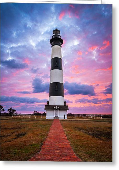 Dave Greeting Cards - Bodie Island Lighthouse Sunrise OBX Outer Banks NC - The Gatekeeper Greeting Card by Dave Allen