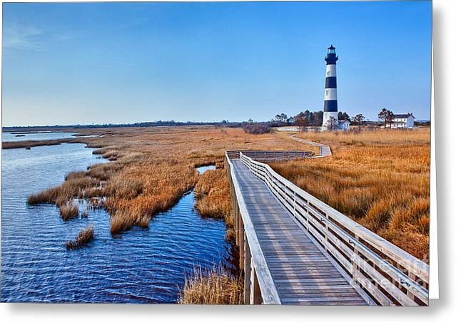 Paint Photograph Greeting Cards - Bodie Lighthouse Outer Banks North Carolina I Greeting Card by Dan Carmichael