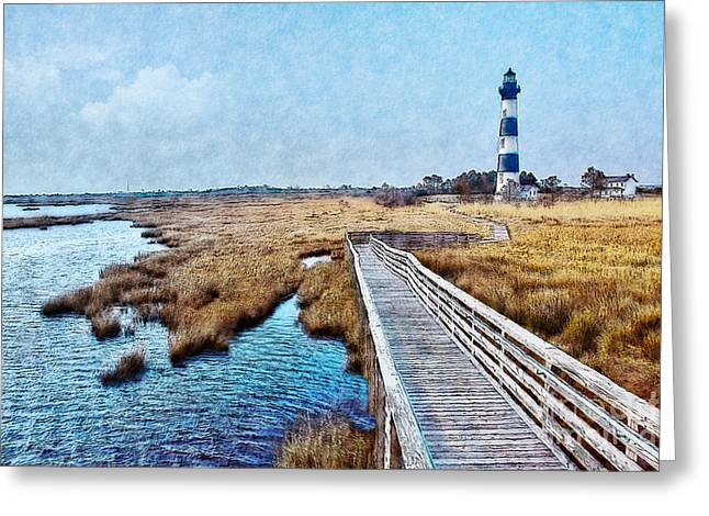 Paint Photograph Greeting Cards - Bodie Lighthouse Outer Banks North Carolina II Greeting Card by Dan Carmichael