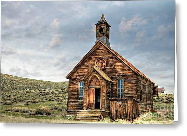 Miners Ghost Greeting Cards - Bodie Methodist Church Greeting Card by Benanne Stiens
