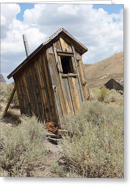 """oldest Wood Building"" Greeting Cards - Bodie Outhouse 18 Greeting Card by Lydia Warner Miller"