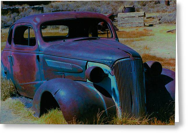 Wrecked Cars Greeting Cards - Bodie Plymouth Greeting Card by Barbara Snyder