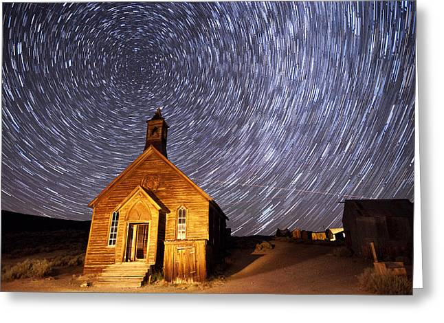 Ghost Town Greeting Cards - Bodie Star Trails Greeting Card by Cat Connor