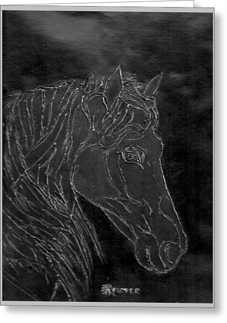 Horse Reliefs Greeting Cards - Bodo Greeting Card by Rosemarie Pfister