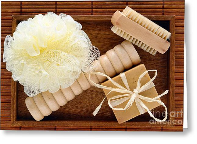 Treatment Greeting Cards - Body Care Accessories in Wood Tray Greeting Card by Olivier Le Queinec
