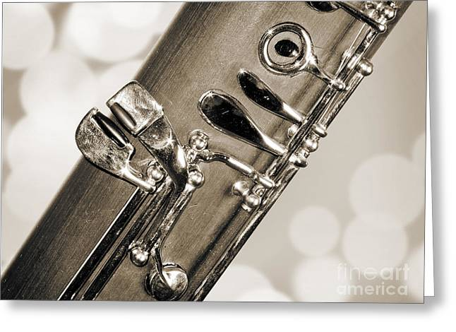 Bassoon Music Instrument Fine Art Prints Canvas Prints Greeting Cards In Sepia 3422.01 Greeting Card by M K  Miller