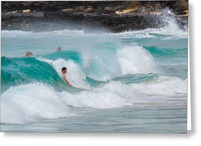 Top Seller Greeting Cards - Body surfing at Sandy Beach Greeting Card by Tin Lung Chao