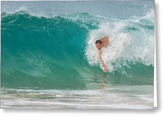 Lahaina Greeting Cards - Body surfing at Waimea beach - Oahu Honolulu Greeting Card by Tin Lung Chao