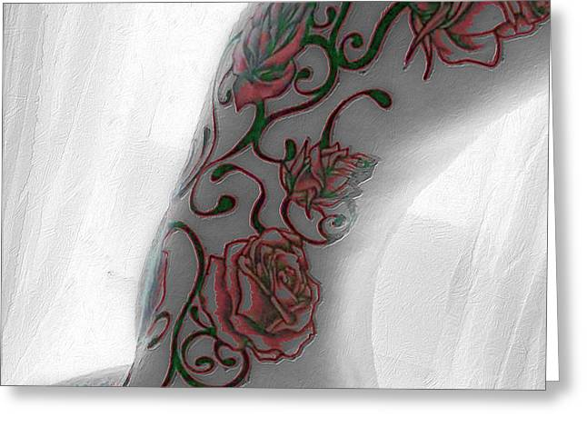 Empower Greeting Cards - Body Tattoo Woman In Window B And W Color Greeting Card by Tony Rubino