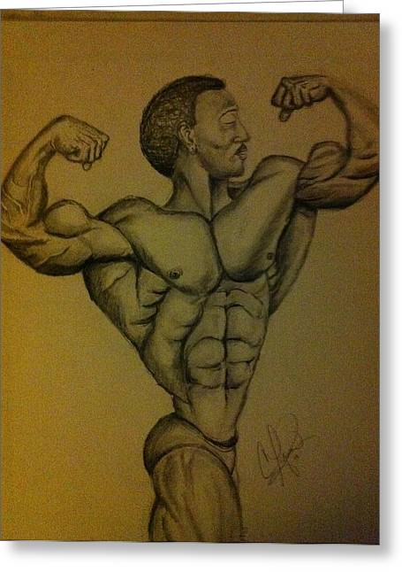 African American Men Drawings Greeting Cards - Bodybuilder In Pencil Greeting Card by Clyde Taylor