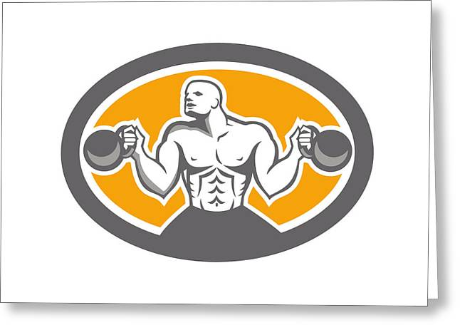 Bodybuilder Digital Art Greeting Cards - Bodybuilder Lifting Kettlebell Front Oval Retro Greeting Card by Aloysius Patrimonio