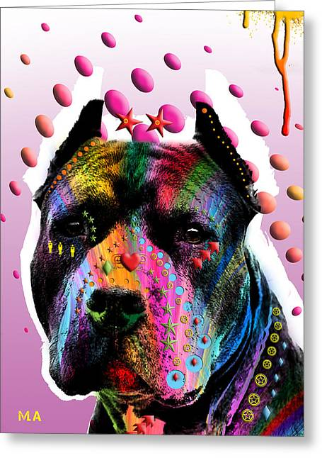 Dog Abstract Art Greeting Cards - Bodyguard Greeting Card by Mark Ashkenazi