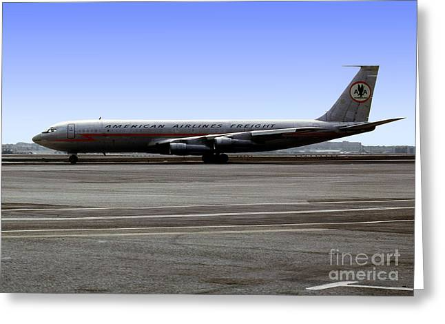 Best Sellers -  - Fixed Wing Multi Engine Greeting Cards - Boeing 707 American Airlines Freight AAL Greeting Card by Wernher Krutein