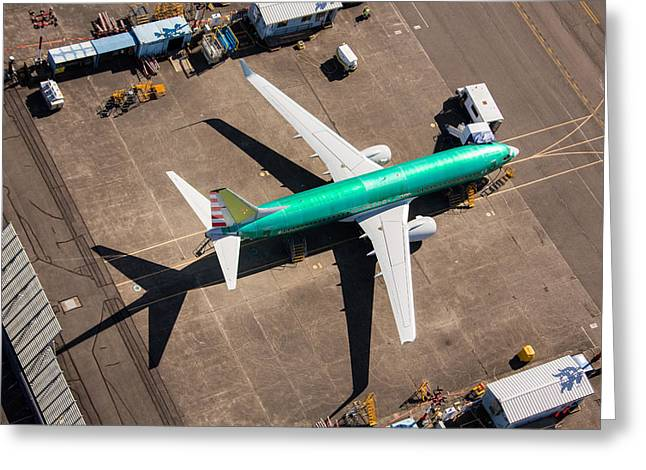 The Next Generation Greeting Cards - Boeing 737 From Above Greeting Card by John Ferrante