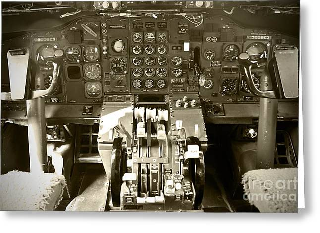 Boeing 747 Photographs Greeting Cards - Boeing B727 Cockpit  Greeting Card by Micah May