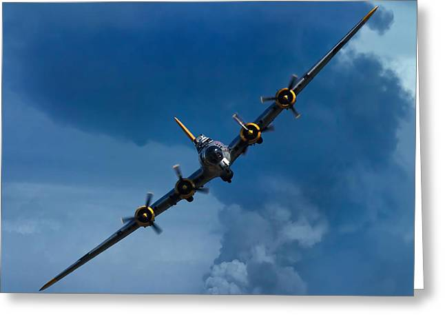 Combat Greeting Cards - Boeing B-17 Flying Fortress Greeting Card by Adam Romanowicz