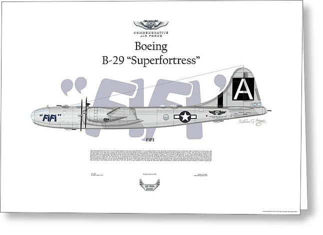 Steve Eggers Greeting Cards - Boeing B-29 Superfortress FIFI Greeting Card by Arthur Eggers