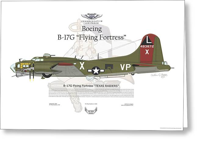 Steve Eggers Greeting Cards - Boeing B17G Flying Fortress Greeting Card by Arthur Eggers