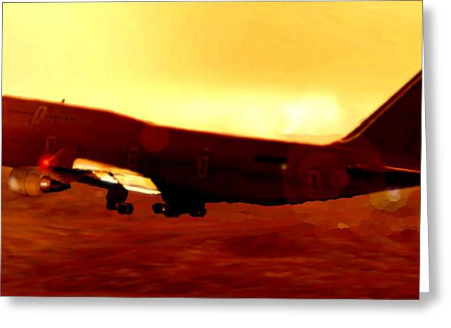 Passenger Plane Mixed Media Greeting Cards - Boeing beauty Greeting Card by Marcello Cicchini