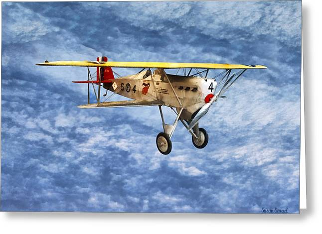 Biplane Greeting Cards - 1920s Biplane Greeting Card by Susan Savad