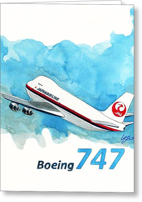 747 Greeting Cards - Boeing 747 Jumbo Greeting Card by Yoshiharu Miyakawa