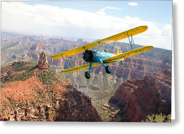 Boeing Stearman At Mount Hayden Grand Canyon Greeting Card by Gary Eason
