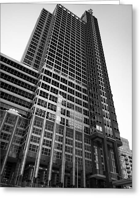 Boeing Greeting Cards - Boeing World HQ Chicago B W Greeting Card by Steve Gadomski
