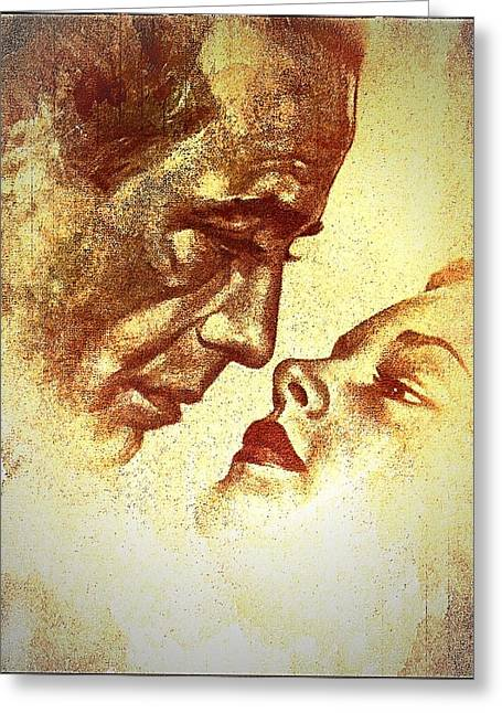 1950s Movies Greeting Cards - Bogart and Bacall Greeting Card by Allen Beilschmidt