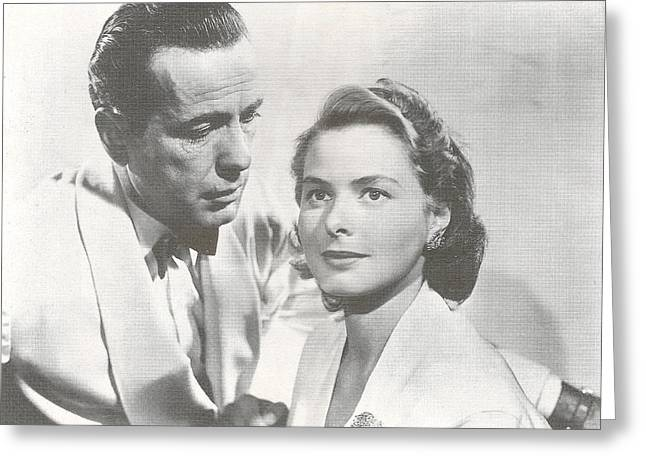 Bogart Greeting Cards - Bogart and Bergman Greeting Card by Nomad Art And  Design