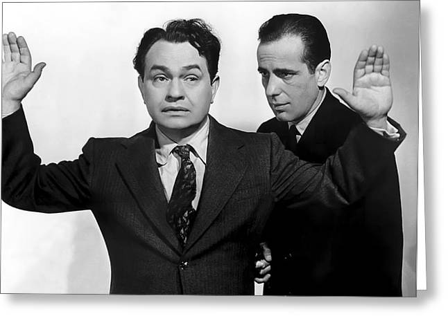 Academy Awards Oscars Greeting Cards - Bogart Gets Drop On Edward G. Robinson Greeting Card by Daniel Hagerman