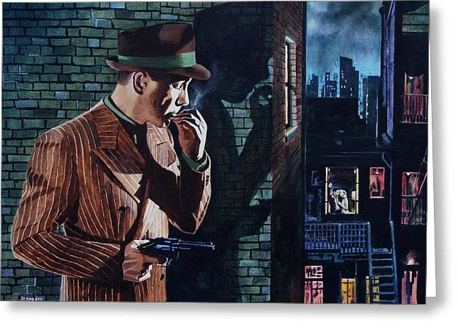 Film Noir Paintings Greeting Cards - Bogart Is Waiting Greeting Card by Jo King