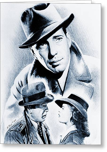Movie Star Drawings Greeting Cards - Bogart silver screen Greeting Card by Andrew Read