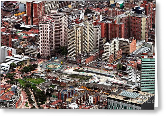 Bogota Cityscape Greeting Card by John Rizzuto