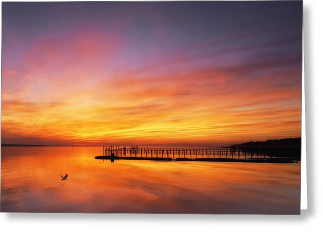 Morehead Greeting Cards - Bogue Sound Sunset Greeting Card by Neva Kittrell-Scheve