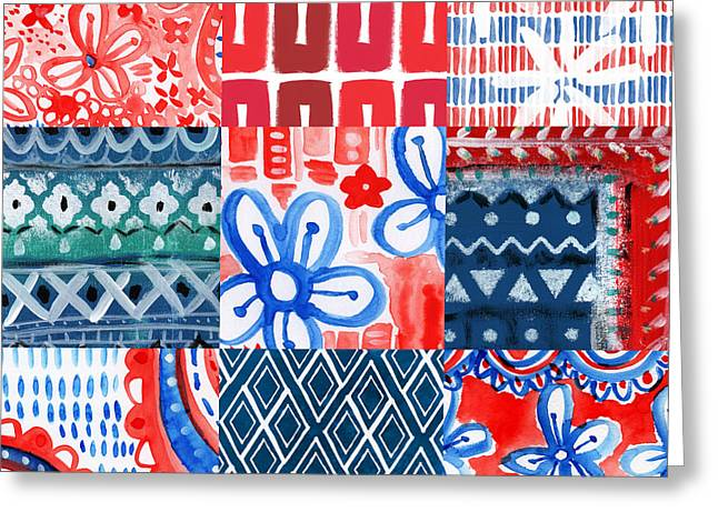 4th July Greeting Cards - Boho Americana- patchwork painting Greeting Card by Linda Woods