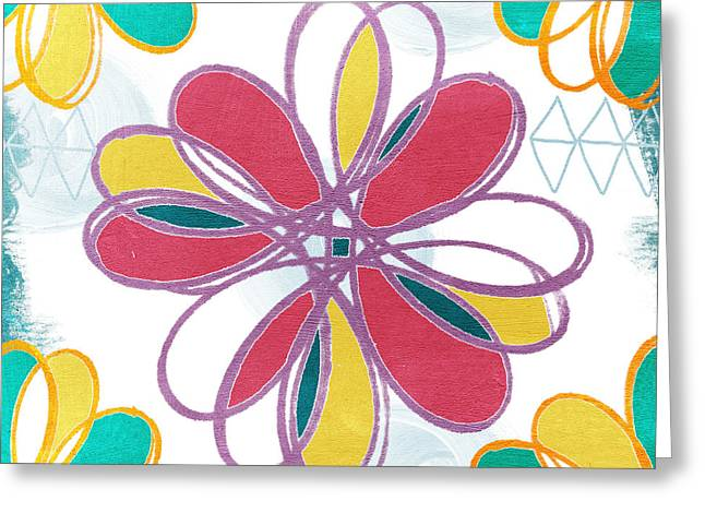 Lines Greeting Cards - Boho Floral 2 Greeting Card by Linda Woods