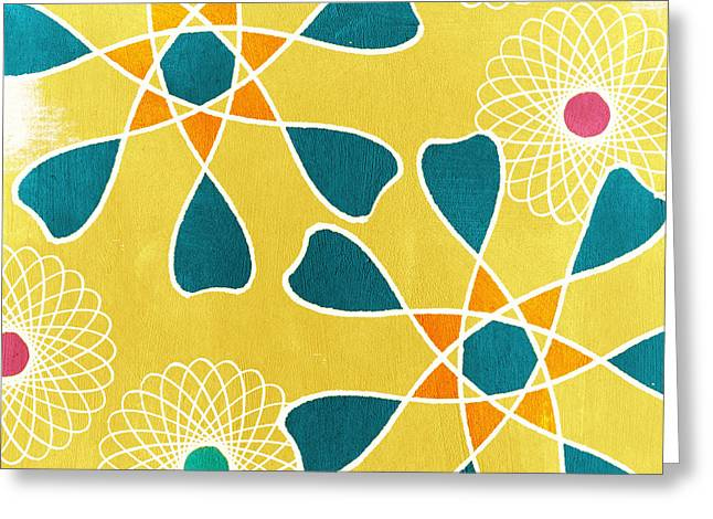 Yellow Line Greeting Cards - Boho Floral 3 Greeting Card by Linda Woods