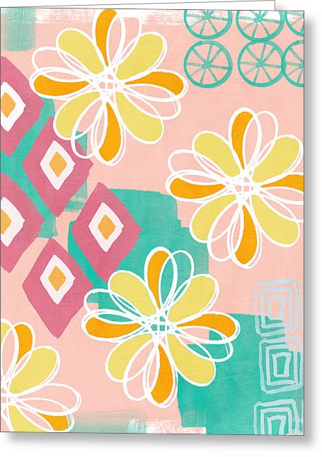 Bedroom Art Greeting Cards - Boho Floral Garden Greeting Card by Linda Woods