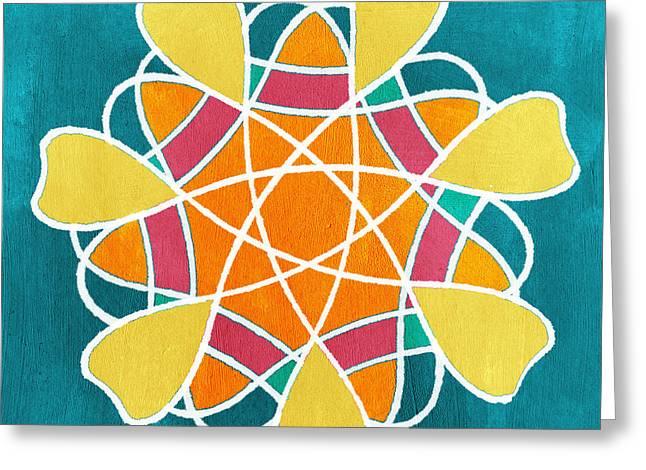 Pink Pillow Greeting Cards - Boho Floral Mandala Greeting Card by Linda Woods