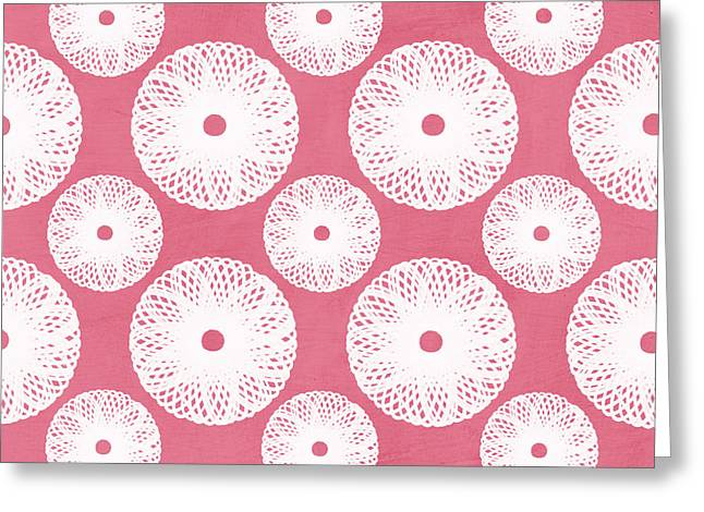 Bright Decor Greeting Cards - Boho Floral Pattern in Pink and White Greeting Card by Linda Woods