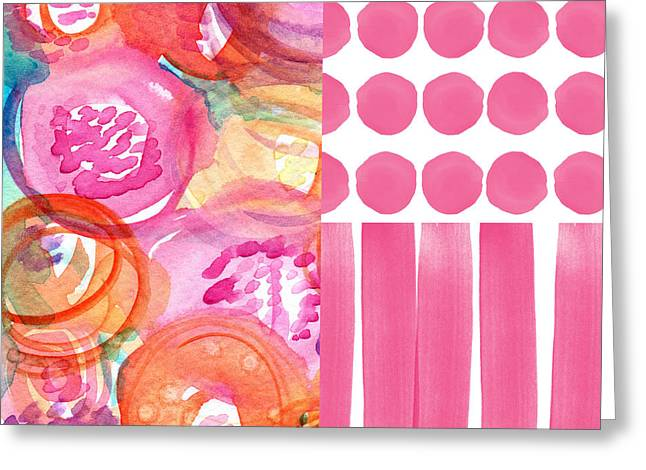 Striped Mixed Media Greeting Cards - Boho Flower Patchwork- watercolor art Greeting Card by Linda Woods