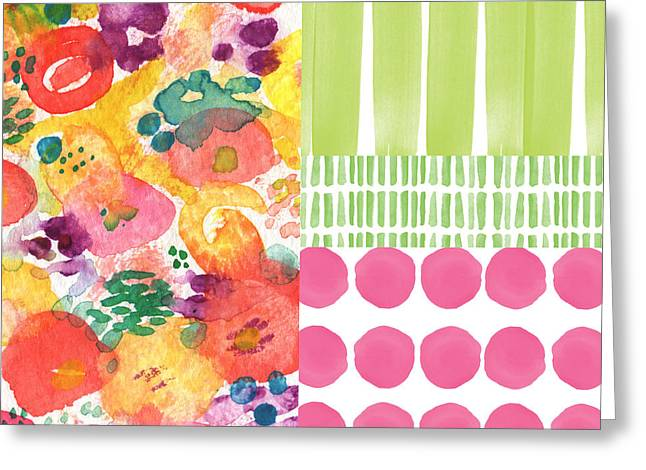 Art Quilt Greeting Cards - Boho Garden Patchwork- floral painting Greeting Card by Linda Woods
