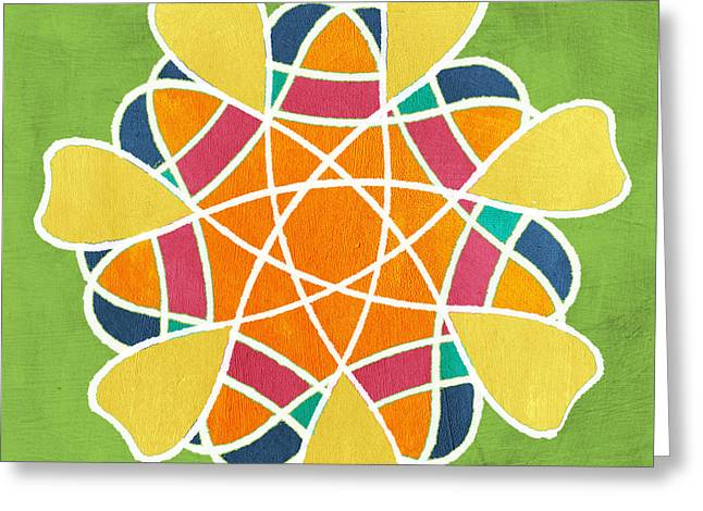 Yellow Line Greeting Cards - Boho Mandala on Green Greeting Card by Linda Woods