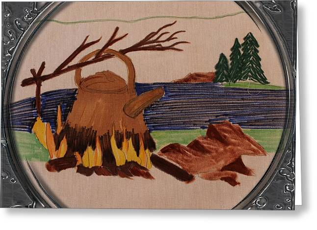 Fire In The Wood Greeting Cards - Boil Up in the Woods - Porthole Vignette Greeting Card by Barbara Griffin