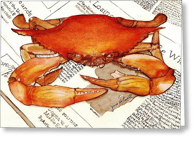 Boiled Crab Greeting Card by June Holwell