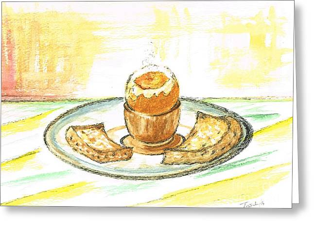 Toast Mixed Media Greeting Cards - Boiled Egg and Toast for Breakfast Greeting Card by Teresa White
