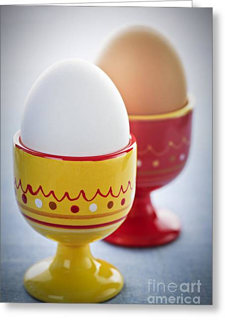 Eat Free Greeting Cards - Boiled eggs in cups Greeting Card by Elena Elisseeva