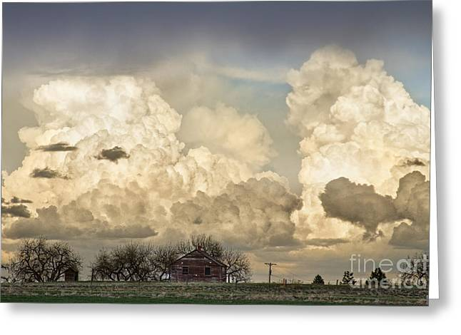 Storm Prints Photographs Greeting Cards - Boiling Thunderstorm Clouds And The Little House On The Prairie Greeting Card by James BO  Insogna